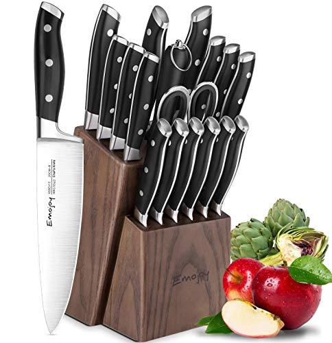 Emojoy Messerblock, 18-teiliges Set, Messerset mit Messerschärfer und Holzblock, Extra Scharf und...