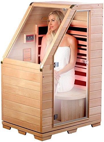 newgen medicals Sitzsauna für Zuhause: Kompakte Infrarot-Sitzsauna aus Hemlock-Holz, 760 W, 0,62...