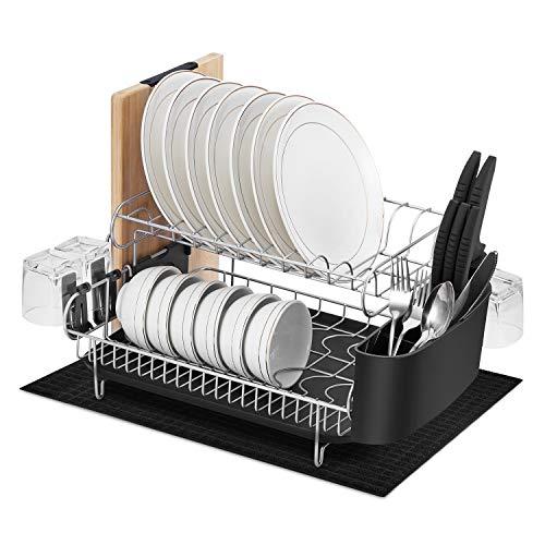 alvorog Abtropfgestell Geschirrständer Geschirrkorb mit Besteckkorb und Abtropfschale für Küche...