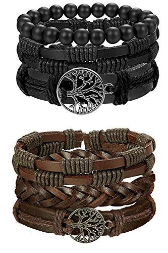 BESTEEL 6 STÜCKE Leder Armband Baum des Lebens für Herren Damen Geflochtenes Armbänder Wrap...