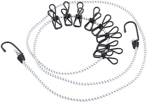 PEARL Reisewäscheleine: Flexible Wäscheleine mit 8 beschichteten Klammern, 170-210cm (Reise...