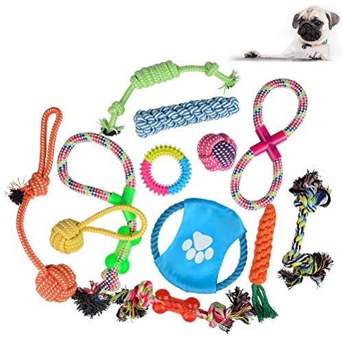 ATPWONZ Hundespielzeug 12pcs Kauspielzeug Interaktives Spielzeug Baumwollknoten Spielset Seil...