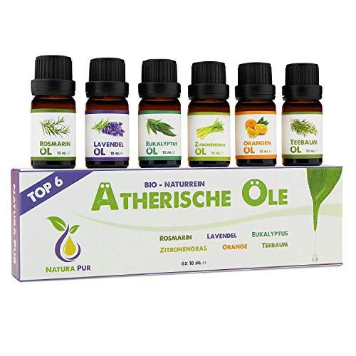 NATURA PUR Ätherische Öle Set - 100% Bio naturrein - Duftöle für Diffuser - Aromaöle für...