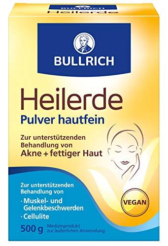 Bullrich Heilerde Pulver hautfein | Hilfe bei Akne fettiger und unreiner Haut Cellulite Muskel und...