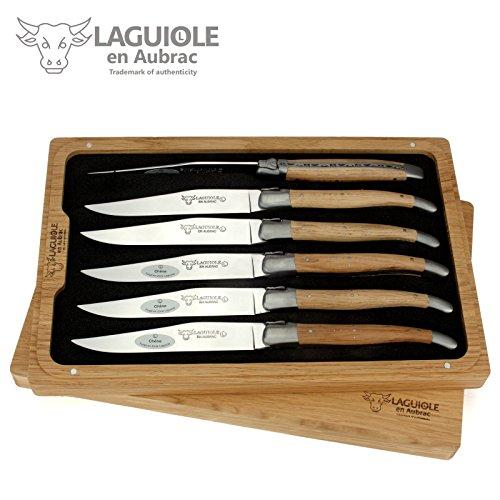 Laguiole en Aubrac Steakmesser - 6er Set - Griff Eichen-Holz - Original Frankreich mit Zertifikat -...