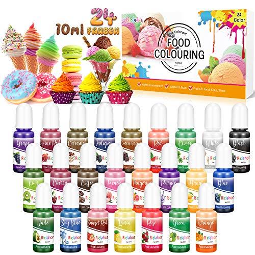 Lebensmittelfarbe 24 Farben - Lebensmittelfarbe Flüssig Hochkonzentriert für Kuchen Backen,...