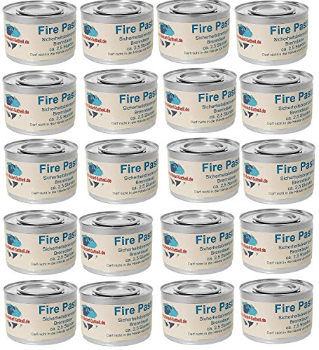Gastro-Bedarf-Gutheil 20 x Sicherheitsbrennpaste je Dose 200 g Qualitätsprodukt Fire Paste...