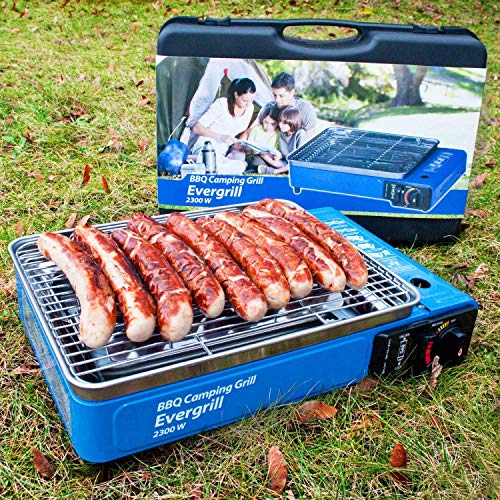 Angel DomäneButangas Camping Grill Evergrill mit Transportkoffer | Gasgrill BBQ Barbeque...