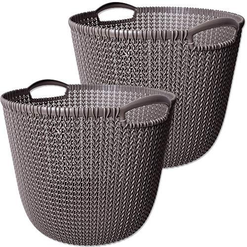 CURVER 2 Stück Knit Collection L Wäschekorb Kunststoff Badezimmer Aufbewahrung Korb Regalkorb...